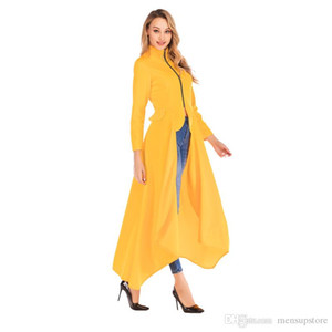 Women Designer Long Jackets 19ss Spring New Zipper Slim Fit Irregular Solid Blazer Jacket Coats