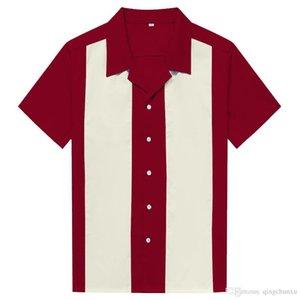 2019 Летняя мужская Блуза моды Рубашки Лоскутная Marron Ivory Одежда для человека с коротким рукавом Свободные Одежда Мужчины Топы Bowling рубашка