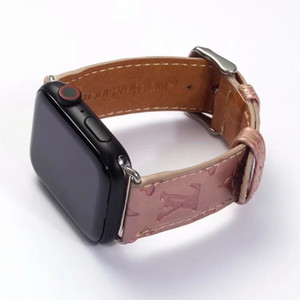 Pour 44mm 42mm 40mm 38mm gaufrée Fleur Apple Bracelets montres de mode de luxe de bracelets de montres Ceinture en cuir intelligents sangles A09 Manchettes