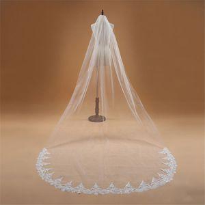 Tarak Dantel Kenar Katedrali Uzunluğu Ucuz Gelin Veil Düğün Aksesuarları Veu de With Voile Mariage 3m Uzun 1 Katman Düğün Veil Hayır