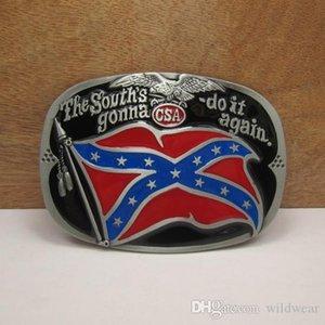 BuckleHome Rebel cintura fibbia della cintura bandiera confederata fibbia fibbia con peltro placcatura FP-02797 libera il trasporto