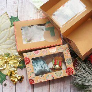 22 * 15 * 7 cm 10 adet Kraft Kağıt Parlak Kırmızı Merry Christmas Kardan Adam Tasarım Kağıt Kutusu Mum Reçel Fırında DIY Parti Hediyeler Yanadır Ambalaj