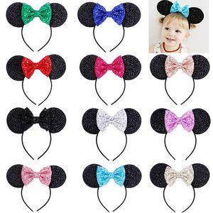 Filles Sequin Bow Accessoires pour cheveux Souris Oreilles Bandeau Enfants Cheveux Sticks Bébé enfants mignons Halloween Noël cosplay coiffe cerceau C6896