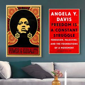 Pantera negra partido angela davis líder da liberdade pintura da lona do retrato do vintage kraft cartaz revestido adesivo de parede decoração da casa de presente