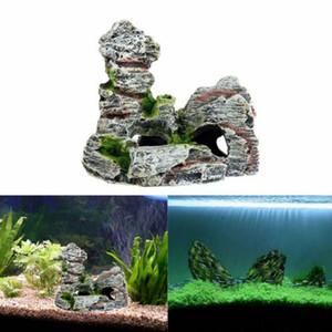 Yeni Fish Tank Peyzaj Süs Rockery Simülasyon Reçine Akvaryum Dekorasyon kaliteli damla nakliye