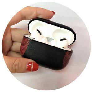 Sexy Schlangen-Haut-Beutel-Kasten für Apple AirPods pro Bluetooth drahtloser Kopfhörer-Leder-Kasten für Luft-Hülsen-Abdeckung Ladebox Hüllen