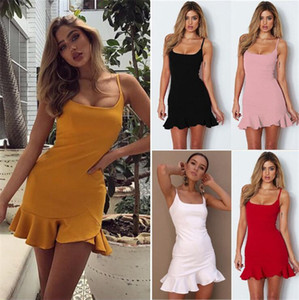 New Summer Women Sundress Fashion Red Black Spaghetti Strap Ruffles Casual Dresses Sexy Backless Beach Party Mini Dress Red Black Color