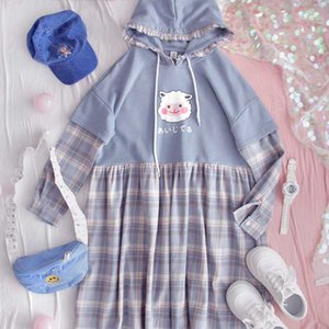 Japanese girl heart spring and autumn girl fake two dress loose student Harajuku cute plaid stitching dress College
