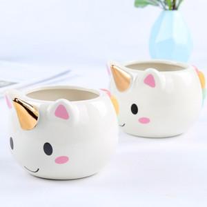 Ywbeyond Kids Birthday Gifts Unicorn Ceramic Coffee Mug Milk and Tea Cup 300ml Cute Gold Stereo Unicorn Cup Children Drinkware