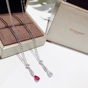 Bijoux pour femmes 2019 début de l'été nouvelle mode collier en forme de poire goutte diamant en argent sterling plaqué or fine classique