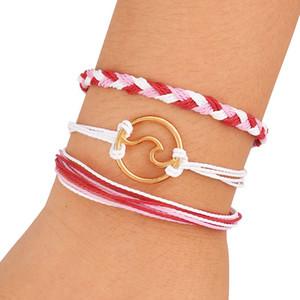New Bohemian Mehrschichtige Shell-Seil-Armband-Set für Damen Herren Adjustable Welle Woven Blau Baumwollwachs-Schnur-Fashion Jewelry
