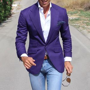 Модные Фиолетовые Мужские Костюмы с Зубчатым Отворотом Одна Кнопка Свадебные Костюмы Для Мужчин Пром Смокинги Только 1 Шт. Формальные Пиджаки
