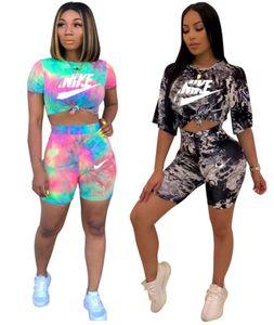 Las mujeres marca de diseño de manga corta 2 piezas Conjunto de trajes camiseta cortos trajes de ropa casual carta verano jersey capris de juego de los deportes 2633