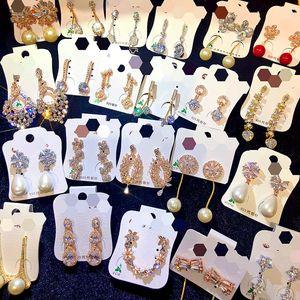 Orecchini di perle di zircone ago argento 925 donne di stile coreano orecchini di dichiarazione regalo ragazze di san valentino all'ingrosso