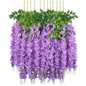 Exclusivo a granel de seda artificial flores Bush Wisteria Garland Colgando Suministros de Decoración boda del ornamento para el jardín de