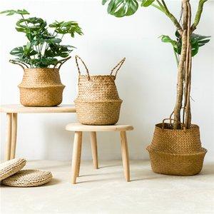 Home & Garden Handmade Bamboo Storage Baskets Foldable Laundry Straw Patchwork Wicker Rattan Seagrass Belly Garden Flower Pot Planter Basket