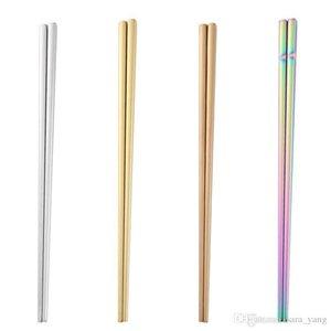High-grade 304 Stainless Steel Chopsticks Glossy Titanium Plated Golden Chopsticks Square Chopsticks rainbow color kitchen tools lin4276