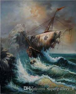 Naufragio barco roto con olas del océano Pintado a mano HD Impreso paisaje marino Arte Pintura al óleo Alta calidad Arte de la pared Lienzo Decoración para el hogar l36