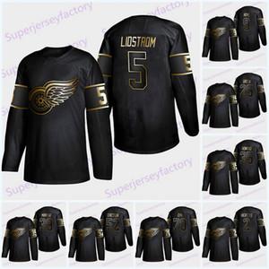 5 Nicklas Lidstrom 2019 Golden Edition Red Wings Jersey 9 Gordie Howe 13 Pavel Datsyuk 8 Justin Abdelkader 19 Steve Yzerman Larkin Maillots