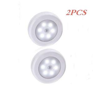 2PCS infrarouge PIR détecteur de mouvement 6 Led Night Light sans fil détecteur de lumière mur Lampe automatique Marche / Arrêt Closet batterie d'alimentation