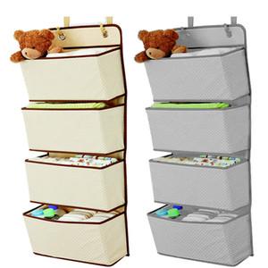 Simple 4 articles ménagers de poche tenture Closet Sac de rangement organiseur porte sac en tissu à jouets Hanger Pochette