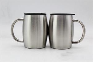 14Oz-Kaffeetasse Edelstahl-Tumbler-Kaffee-Bier-Becher mit Deckeln und Griff doppelt ummauerte isolierte Kaffee-Bierkrüge gesunde Wahl