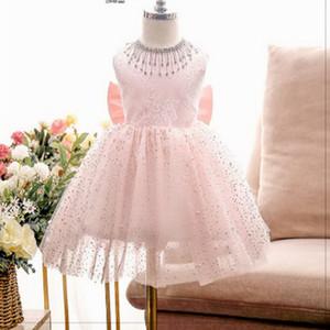 Flower Girl Beading Dress Big Bow Pink Princess Dress for Birthday Party Wedding Piano Performance Dress E200306