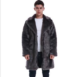 Yeni 2019 Kış Isınma Mens Sahte Coat Yaka Lüks Sahte Kürk Uzun Dış Giyim Kalın Casual Gevşek Erkekler Sahte Kürk Mantolu Turn-down