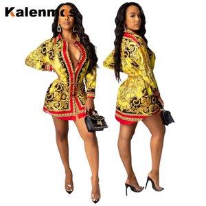 KALENMOS мини рубашка Платье женщин обтяжку сексуальный свободные Пейсли печать Винтаж повседневный клуб вечеринки бандаж рубашки африканских одежды
