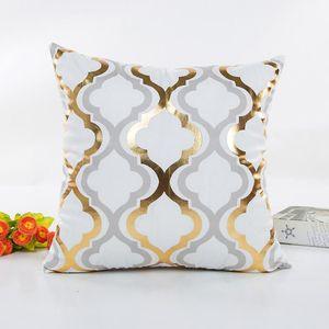 Easter Cushion Cover Decorative Gold Foil Leaves Wave Pillowcase Home Chair Sofa Circle Pillow Cover Waist Throw Cushion