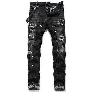 Unique Mens Distressed Ripped Blue Skinny Jeans Fashion Designer Slim Fit Washed Motocycle Denim Pants Panelled Hip Hop Biker Trousers 10486