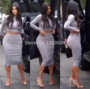 Toptan-Seksi Kim Kardashian Gri İki Adet Kalem Elbise Crop Top Elbise Seti BODYCON Elbise Ünlü Elbise TCD054