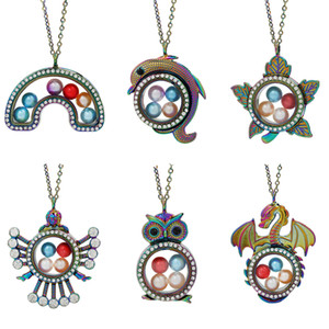 Magnetic Muticolor Angel Dragon Dolphin Glass Living Memory Locket Pendant Pearl Cage Floating Charms Pendant Necklace With Steel Chain