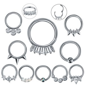 1PC / Los Edelstahl-Nasen-Piercing Septum Clicker Helix Ohrpiercings Ohr Tragus Cartilage Conch Daith Rook Piercing Nariz