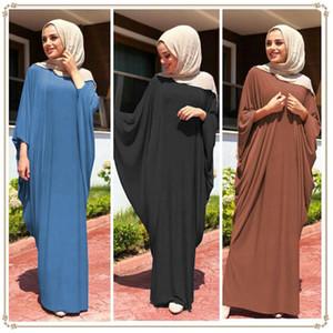 (12 unidades / lote) 2019 Nuevo Estilo Mujeres Kaftan Abaya Musulmana hasta el suelo ropa de oración Islam hijab abaya con mangas YM056
