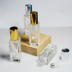 3 / 100pcs 6ml Würfel-Quadrat-Gold, Glas, Ätherisches Öl Parfüm Roller Flasche, Ätherisches Öl Roller, Parfüm-Flasche, Glasrolle auf Flasche