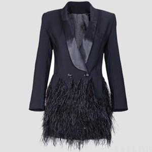 2019 otoño moda Blazer Chaqueta de mujer negro Plumas con muesca jaqueta feminina Celebrity Runway Chaquetas Elegante Lady Blazer