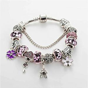 Bracelet en gros-Charm 925 Pandor Bracelets Château Perles Tour Eiffel Pendentif Bracelet pour le cadeau de bijoux Accessoires de bricolage avec boîte