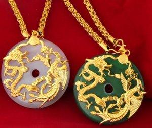 Светская львица высокого класса низкая цена высокое качество натуральный высокий нефрит инкрустация дракон * феникс кулон золото fiiiled necklacei up-market
