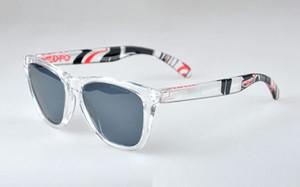 Markemens Frogskin Sonnenbrillen Damenmode 03-238 polarisierte Sonnenbrille Clear Frame grau Objektiv Original-Box