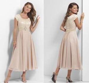 Champagne Chá Duração Longo Modest vestidos de dama de honra com casamento Casual de mangas Lace Chiffon Mãe Partido vestidos de empregadas domésticas das noivas vestidos