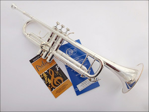 Bach TR-190GS Trumpet Silver Pipe Body Plated Carved Bb Trumpete Drop B Adjustable Trompeta Instrument With case