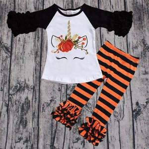 2019-2020 NEUE heiße Kleinkind-Kind-Baby-Girl Outfits Katze kleidet T-Shirt Tops Kleid + Gestreifte Hosen 2ST Set