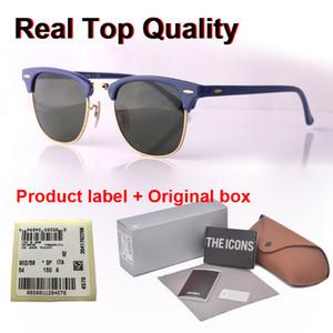 Qualità superiore di marca degli occhiali da sole delle donne degli uomini Plancia occhiali da sole telaio lente in vetro metallo cerniera specchio Cat Eye con scatola al minuto libera ed etichetta