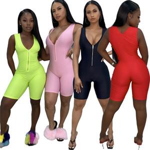 المرأة بذلة عارضة ملابس الصيف الجديدة ضد مثير السروال القصير الرقبة سستة BODYSUIT بلا أكمام 1 قطعة السراويل مصمم بلون وزرة 2723
