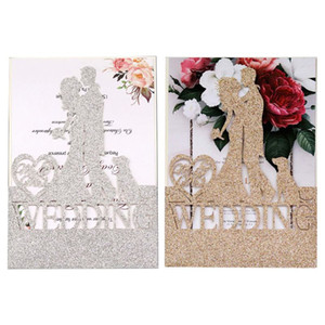 10pcs set Glitter Laser Cut Wedding Invitations Card Invite Envelopes Kit for Engagement Personalized Party Supplies