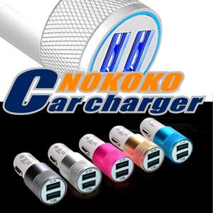 Metallico Doppio Caricatore da auto universale Nokoko alimentatore 12 Volt / 1 ~ 2 Amp per Samsung Android Phone gps pc
