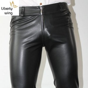 Nuovo sexy Zipper Leather Designer Mens Skinny matita Pu elastico Long Man Pantaloni Punk Plus Size Motociclista Pants