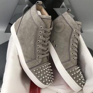 2019 Red Chaussures Hommes Chaussures femmes fond Spikes appartements haut haut gris de sauvegarde de formateurs en cuir suédé l'orteil Party Chaussures de mariage
