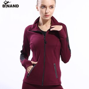BINAND Women Running Zipper Jackets Long Sleeve Net Yarn Splicing Fitness Sports Shirt Slim Quick Dry Outdoors Yoga Sportswear
